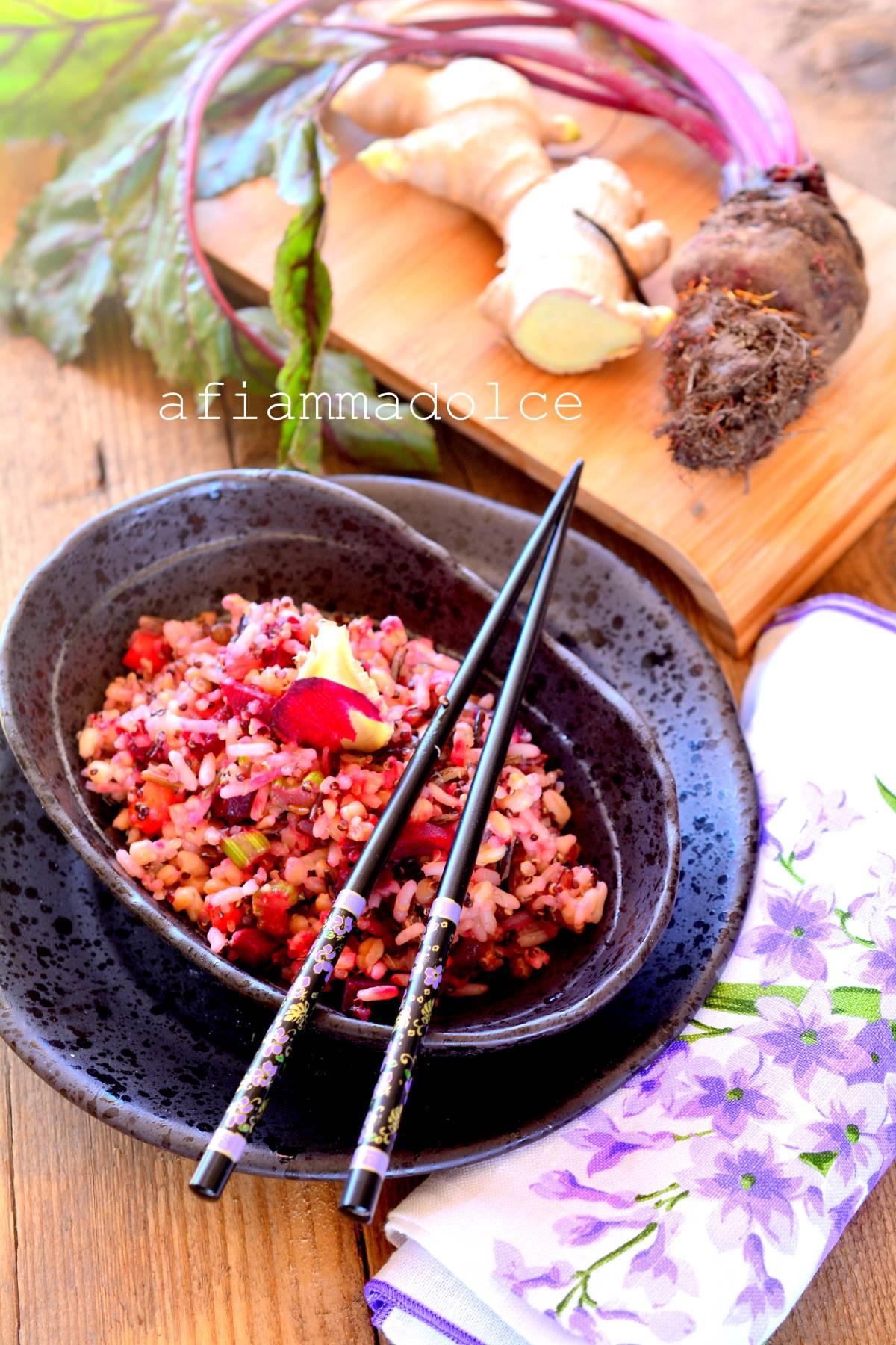 riso integrale alla rapa rossa e zenzero