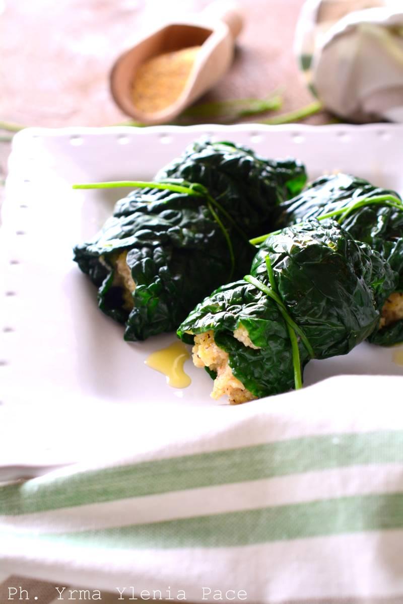 involtini di cavolo nero alla polenta taragna