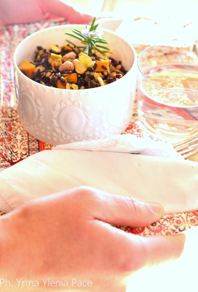 riso bianco e nero con zucca
