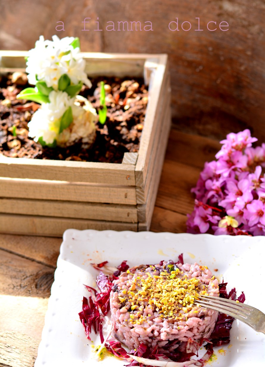 risotto al radicchio e pistacchi tostati